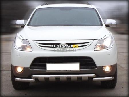 Hyundai IX-55 2009-наст.вр.-Дуга передняя по низу бампера d-60 с доп.накладками